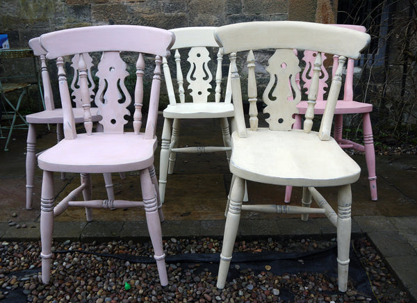 Shabby chic mismatch vintage dining chairs painted to order with an antique finish
