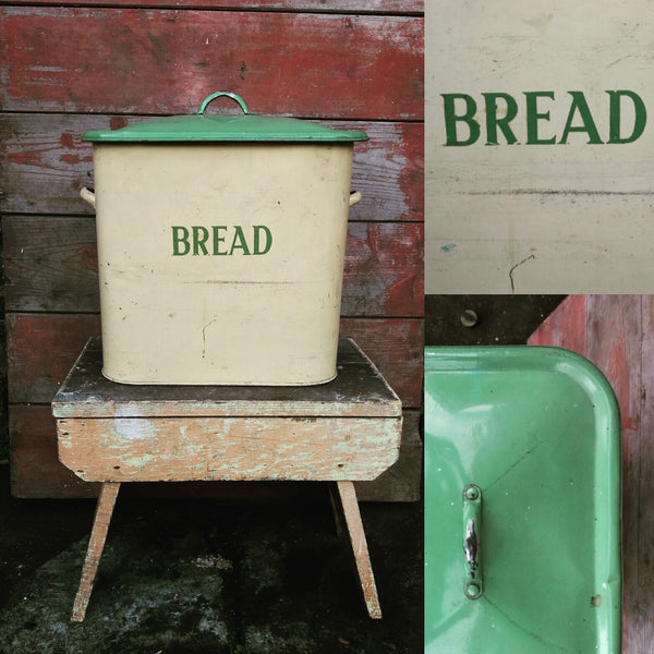big vintage green and cream enamel bread bin