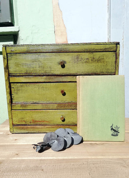 Reserved for Jasna vintage set of tiny drawers in miss mustard seed milk paint Boxwood