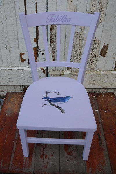 Custom listing for Tom personalised vintage children's name chair in Ecos organic paint