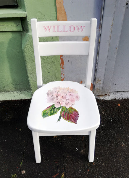 Custom Listing for Andrea children's personalised vintage school chair with hydrangea theme.
