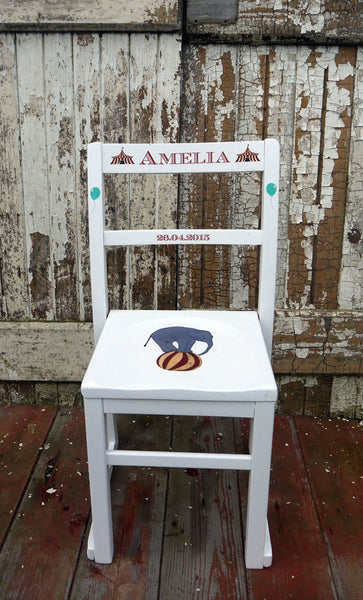 children's personalised vintage school chair circus theme