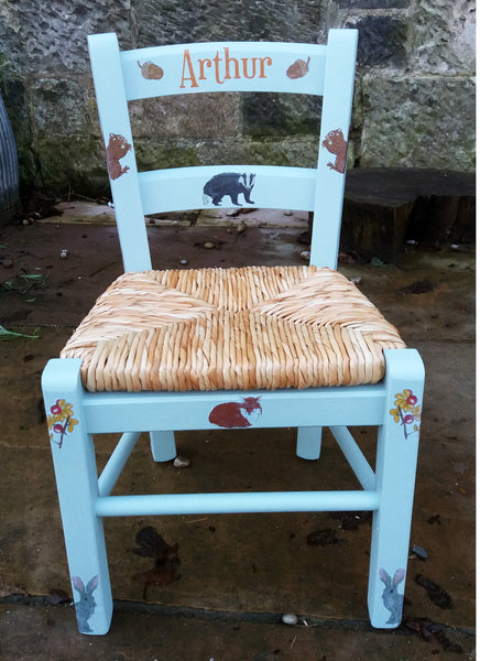 children's rush seat chair with woodland theme