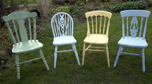 4 x Shabby chic mismatch chippy Miss Mustard Seed Milk Paint vintage dining chairs set Made to order by Emily Rose Vintage