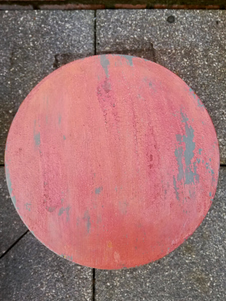Vintage wooden stool painted in layers of chippy milk paint