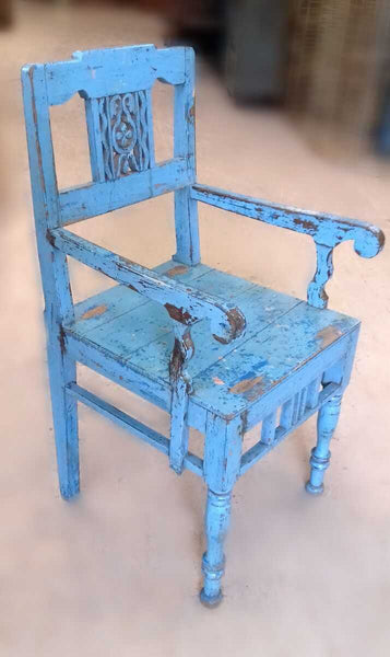 Beautiful antique painted chair with original blue chippy paint