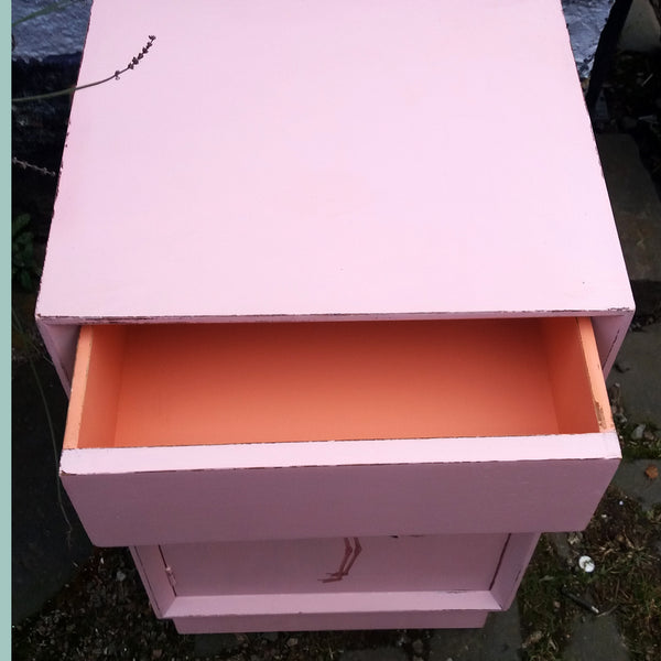 Vintage pink painted bedside cabinet with flamingo decoupage design