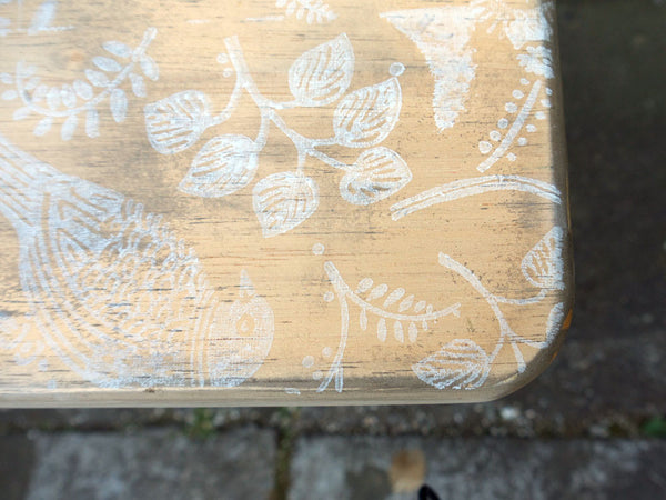Hand Painted folding side table with vintage folk art bird design