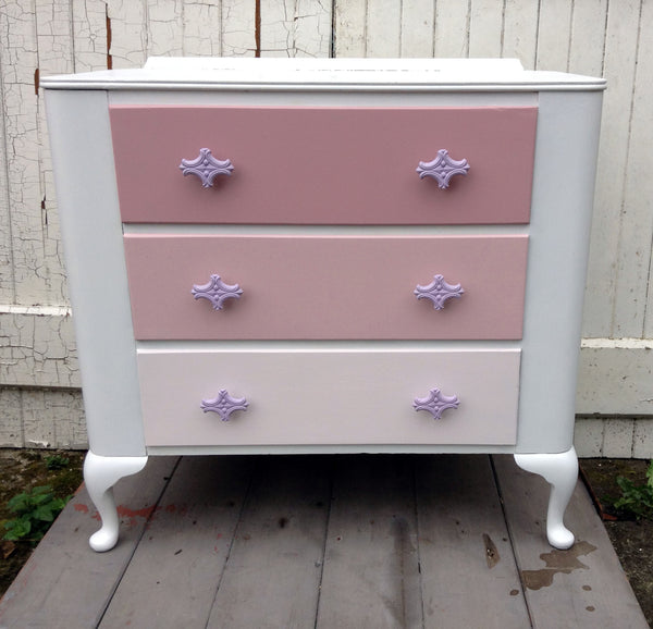 Refurbished hand painted children's bedroom furniture wardrobe and Chest of Drawers by Emily Rose Vintage