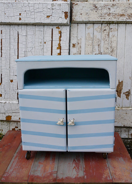 Vintage hand painted chevron record cabinet with retro deer handles.