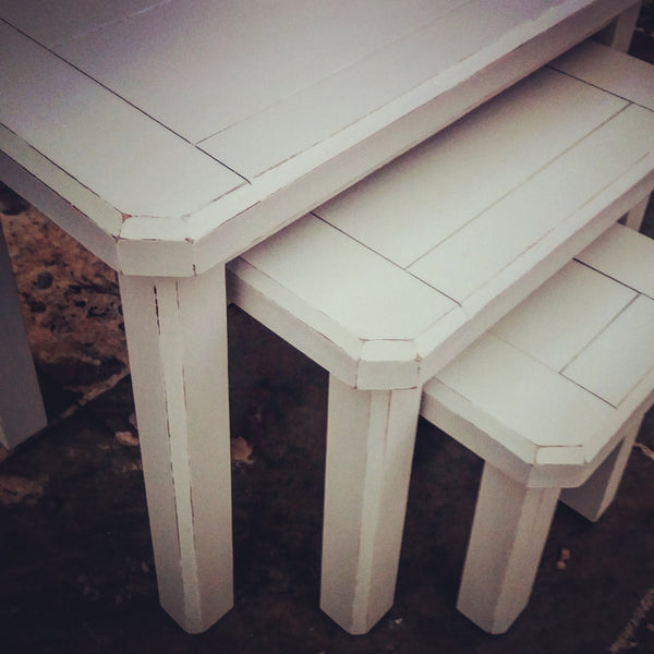 hand painted shabby chic side tables