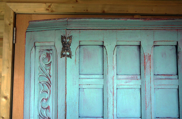 hand painted vintage wardrobe in miss mustard seed milk paint