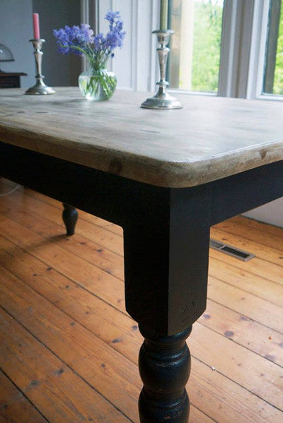Vintage farmhouse pine dining table with a retro scrub top finish coffee table with painted legs refurbished by emily rose vintage