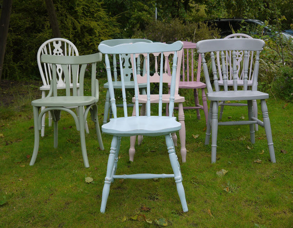 vintage shabby chic mismatched dining chairs in Autentico chalk paint