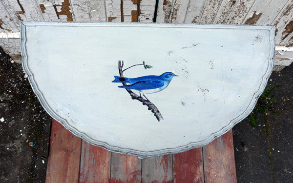 Vintage half moon table in miss mustard seed milk paint with vintage bird design