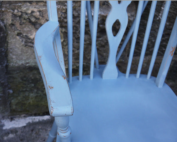 vintage wheelback carver dining chair in Miss Mustard Seed Milk Paint Bergere