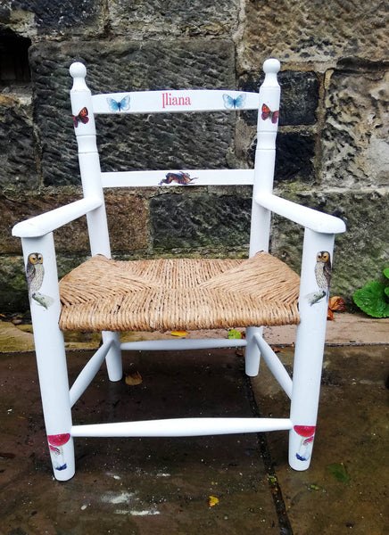 painted children's rush seat chair with vintage woodland theme