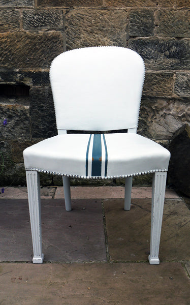 Painted leather desk chair in fusion mineral paint lamp white with homestead blue grainsack stripe
