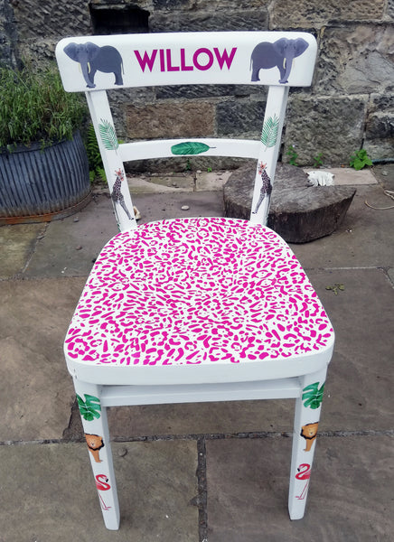 personalised children's chair with flamingo jungle theme
