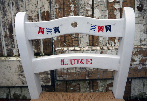 Custom Listing for Olivia a pair of personalised children's rush seat chairs