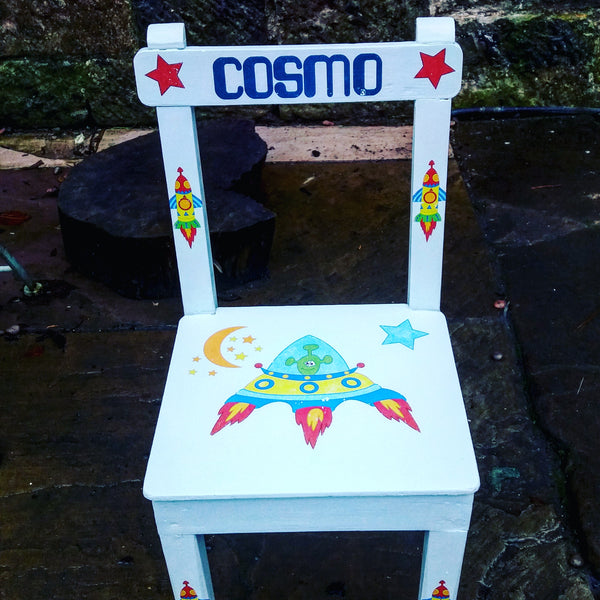 Children's personalised upcycled wooden nursery school chair with cosmic space theme and your child's name