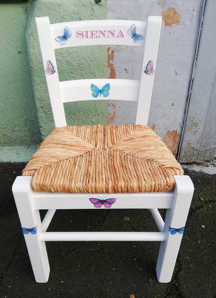 personalised children's chair with butterfly theme