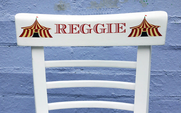 personalised children's name school chairs with circus theme
