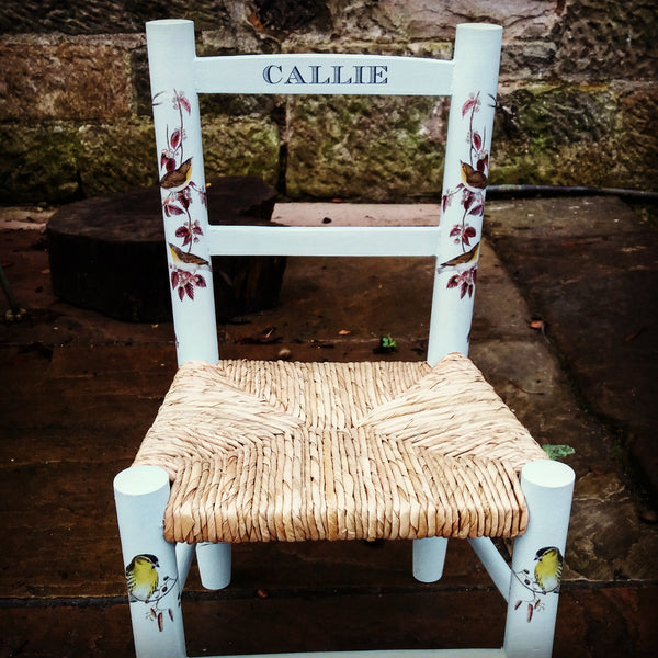 Custom Listing for Olivia  personalised children's rush seat chair with birds theme