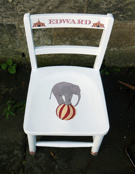 personalised children's school chair with circus theme