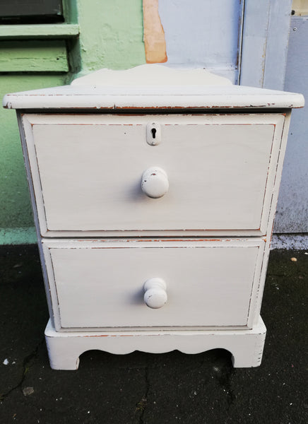 pine bedside table painted in MMS Grainsack