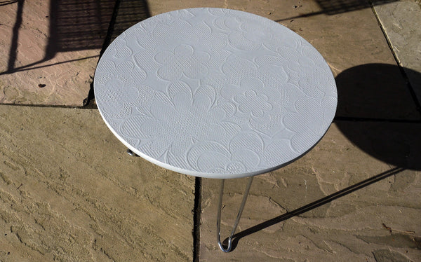 Upcycled retro round coffee side table with original 70's vintage wallpaper with hair pin legs