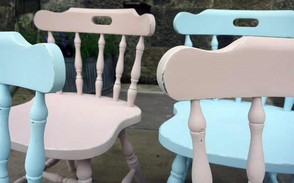 set of 4 mismatched vintage dining chairs in Annabell Duke Chalk Paint