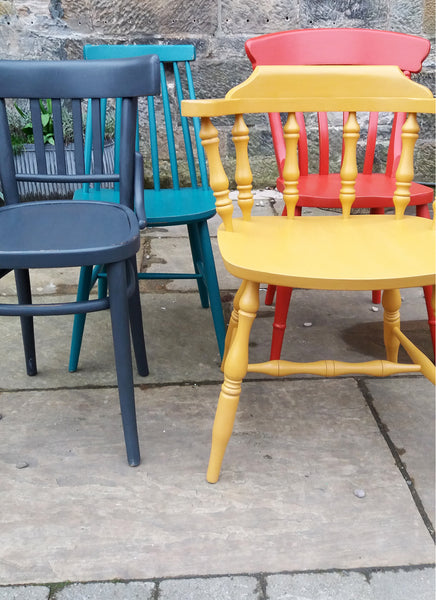 set of 4 painted mismatched vintage dining chairs in fusion mineral paint