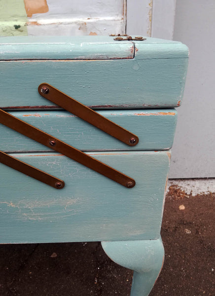 sewing box painted in layers of miss mustard seed milk paint
