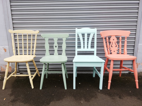 Shabby chic mismatch vintage dining chairs painted to order