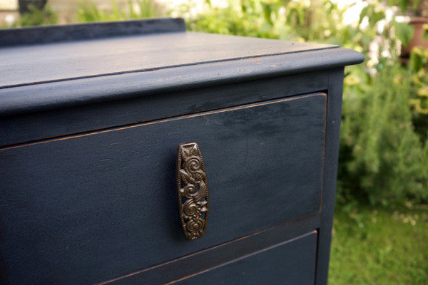Navy and black stripe hand painted chest of drawers by emily rose vintage