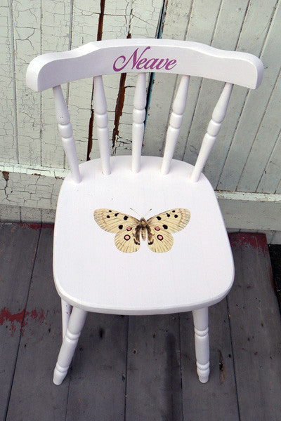 Custom Listing for Emma personalised hand painted vintage childs chair with butterfly design