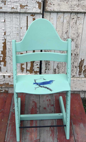 Custom Listing for Claire Gemson handpainted stokke trip trapp chair with vintage Blue Bird