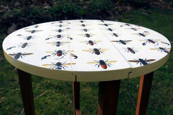 upcycled round side table with vintage bees design by Emily Rose Vintage