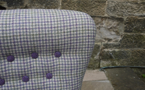 Upholstered vintage button back tub chair in pure wool lavender and sage pure wool fabric