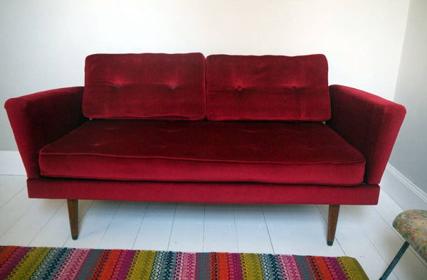 Gorgeous vintage 1950's day bed sofa in its original ruby red velvet