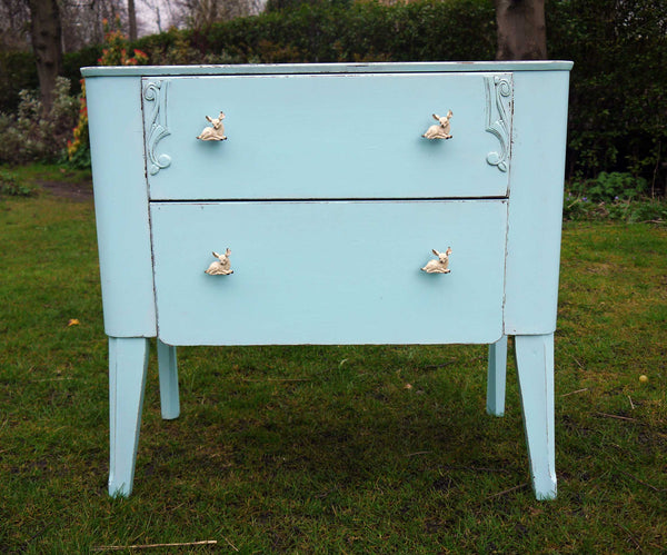 Vintage children's chest of drawers hand panted in Ecos organic paint in baby blue with new fawn handles in cream