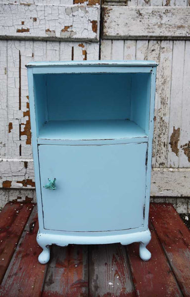 Custom Listing for Claire Vintage shabby chic nightstand bedside cabinet in baby blue by Emily Rose Vintage plus fawn handles