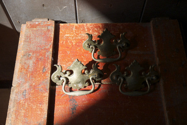 Set of 3 vintage ornage brass drawer pulls