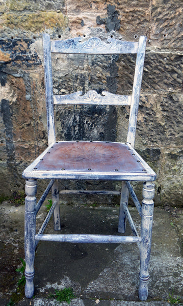Rustic primitive vintage carved chair refurbished and repainted in layers of chalk paint