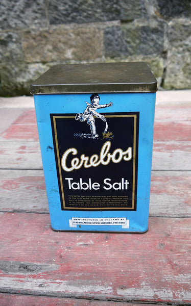 Large vintage cerebos table salt storage tin Made by Cerebos Limited in England NW10.