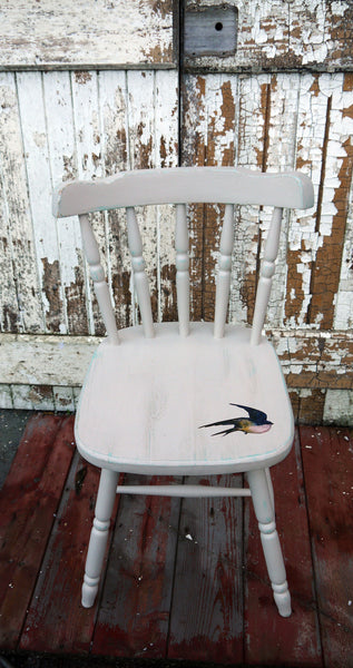 Vintage hand painted dining chair in Fusion Mineral Paint champlain with bird decoupage