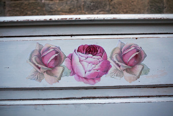 Custom Listing for Sally -  hand painted chest of drawers with rose design