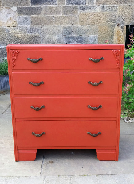 vintage chest of drawers painted in fusion mineral paint fort york red