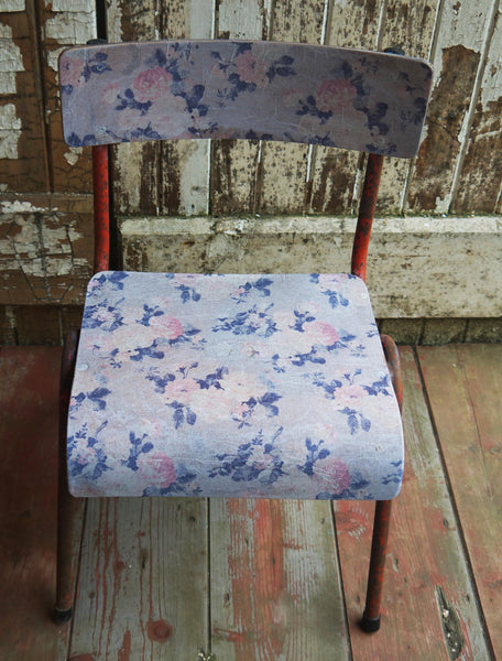 Vintage children's school desk and decoupaged chair set